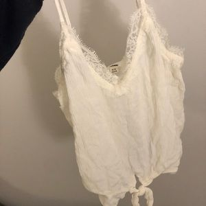 Tops - Cream lace tie tank